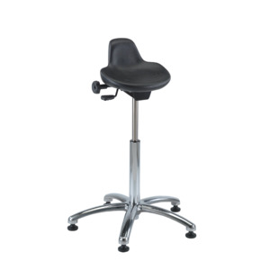 Bevco Chair, Sit-Stand Chrome 13 x 13 in. Seat, 22 in.-32 Height