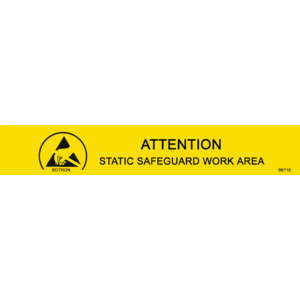 Techni-Stat Sign ESD 1 x 6 in. Attention Yellow/Black