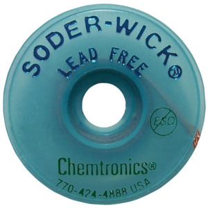 Chemtronics Solder-Wick, Sz 4, Lead-Free, .110 in., 10 ft., Blue