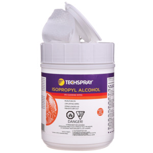 TechSpray IPA Wipes, 99.8% IPA 5 x 8 in. Flip-Top Tub, 100/Tub