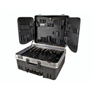Tec-Tuff Case, Wheeled, Sewn-in Pallets, Black/Silver