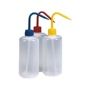 Techni-Tool Wash Bottles, 3 pack, Red, Yellow, Blue Caps