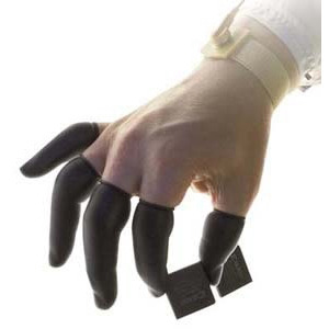 Techni-Tool Fingercots, ESD Powder-Free, Black Latex, Med