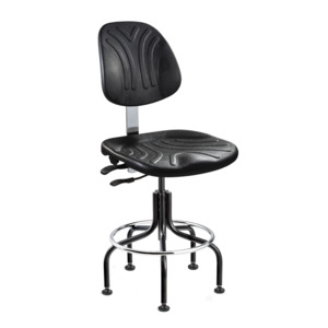 Bevco Chair, Poly, Non-Tilt 24-29 Adjustable, Foot Ring, Mushroom Glides