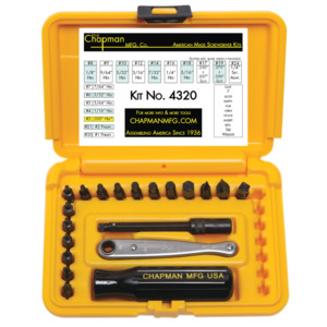 Chapman Offset Screwdriver Kit Inch/Metric, 20 Pc, w/Ratchet